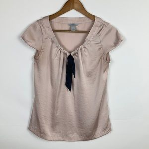 H&M Cap Sleeve Blouse Tan Pink Bow Tie Size 6